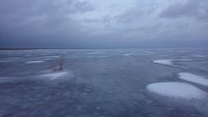 Võrtsjärve jää paari sentimeetriste lumelaikudega